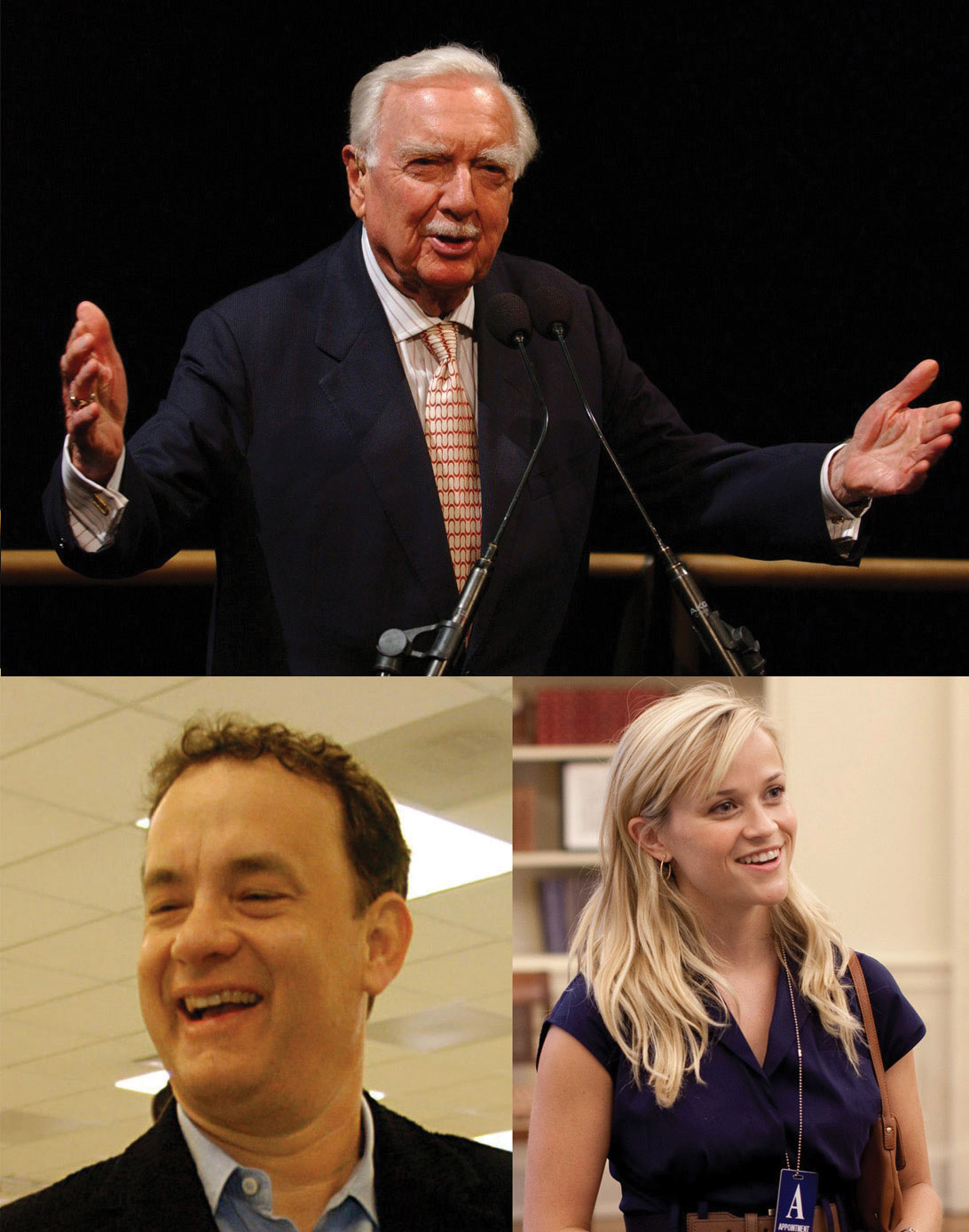 Collage: Walter Cronkite, Tom Hanks, and Reese Witherspoon