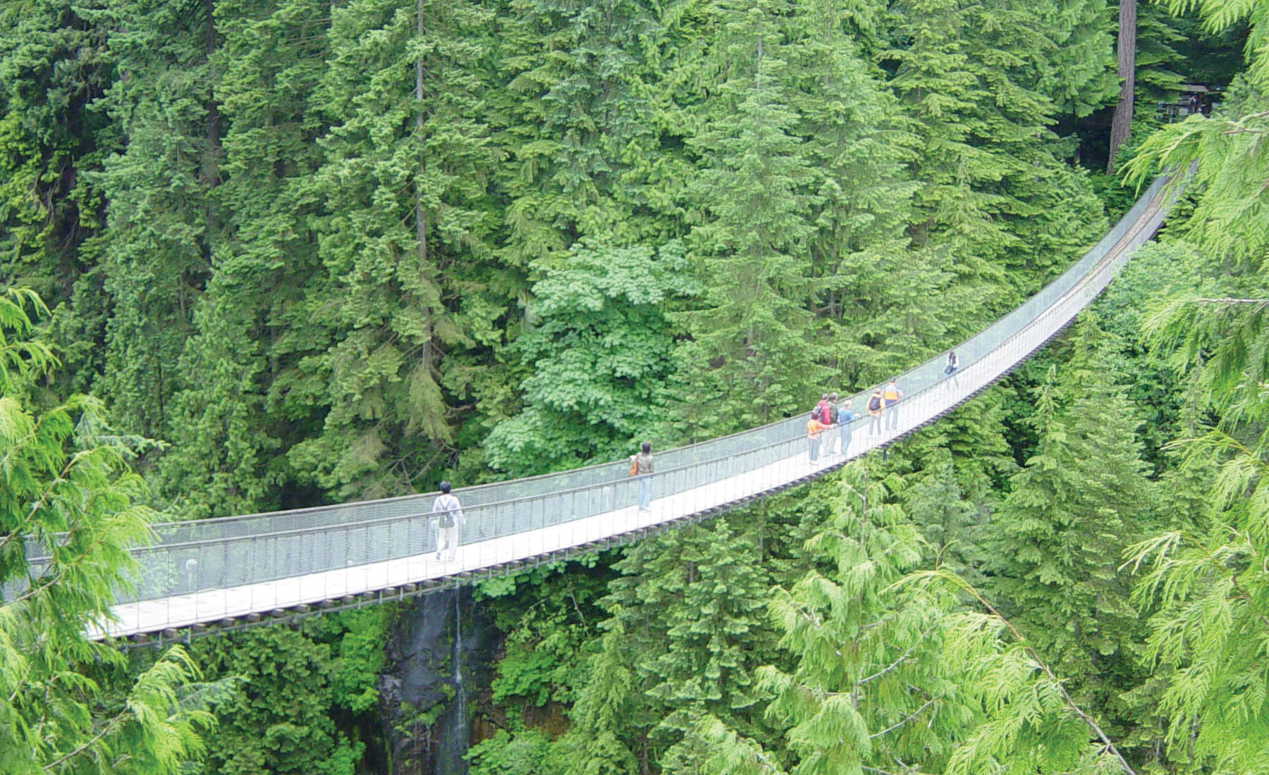 People standing on a very long, narrow, and high bridge