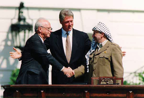 Bill Clinton meeting with Yitzhak Rabin and Yasser Arafat