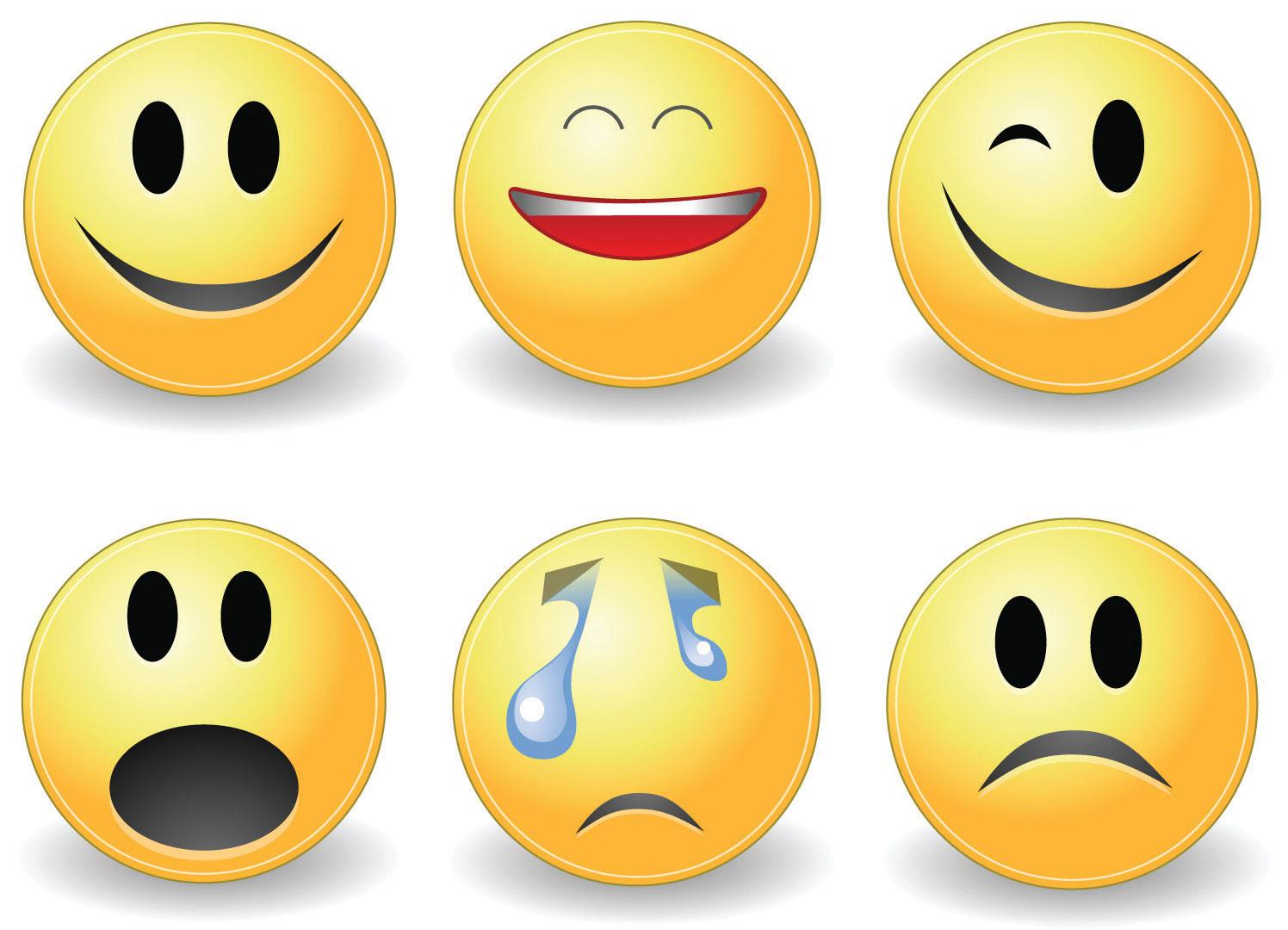 Emojis, smiling, big smile, wink, shock, crying, and sad