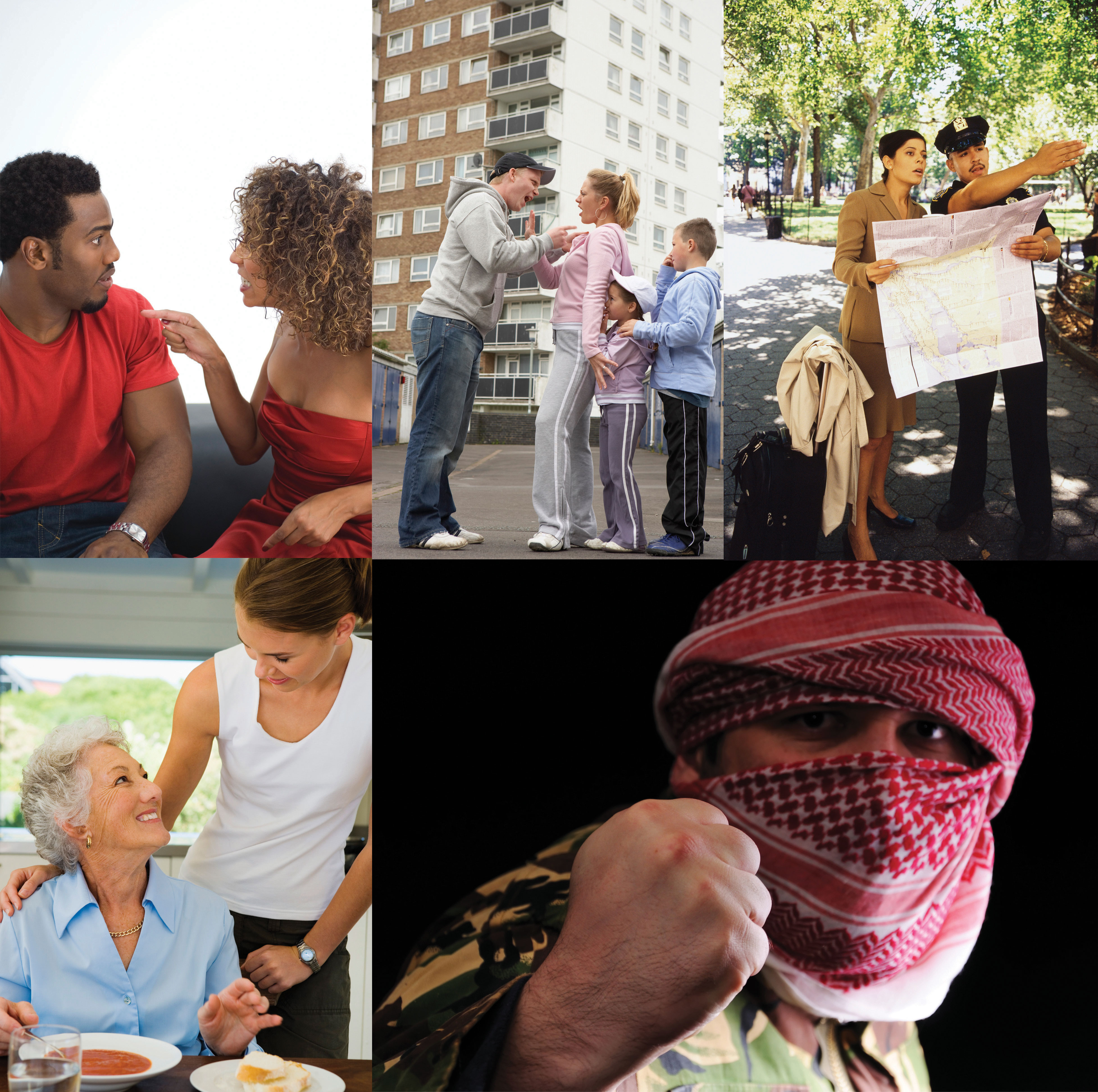 Collage: A woman yelling at her boyfriend, a man yelling at his family, a cop giving a woman directions, an old woman smiling up at a younger woman, a man with with a balaclava holding his fist up