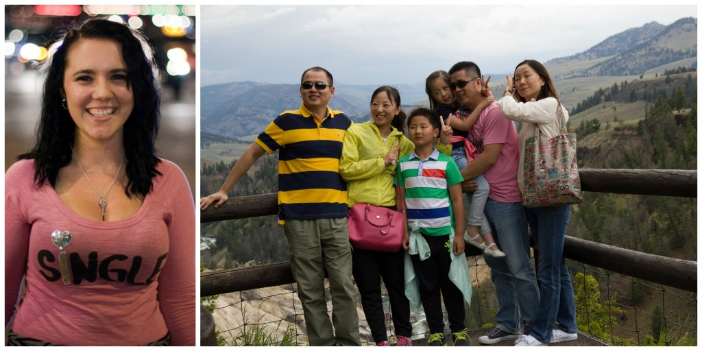 Collage: a woman smiling, and a family posing by a mountain range