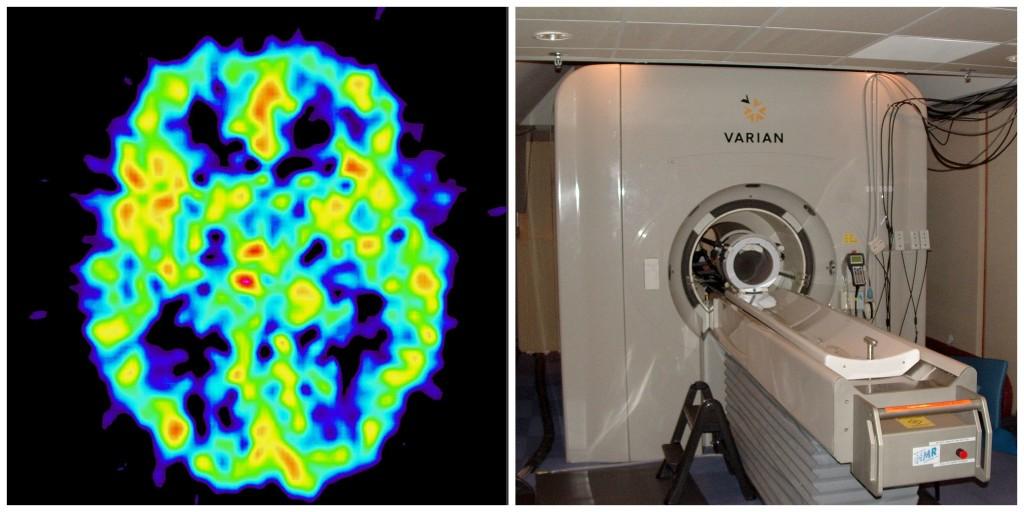 an fMRI image and an MRI machine