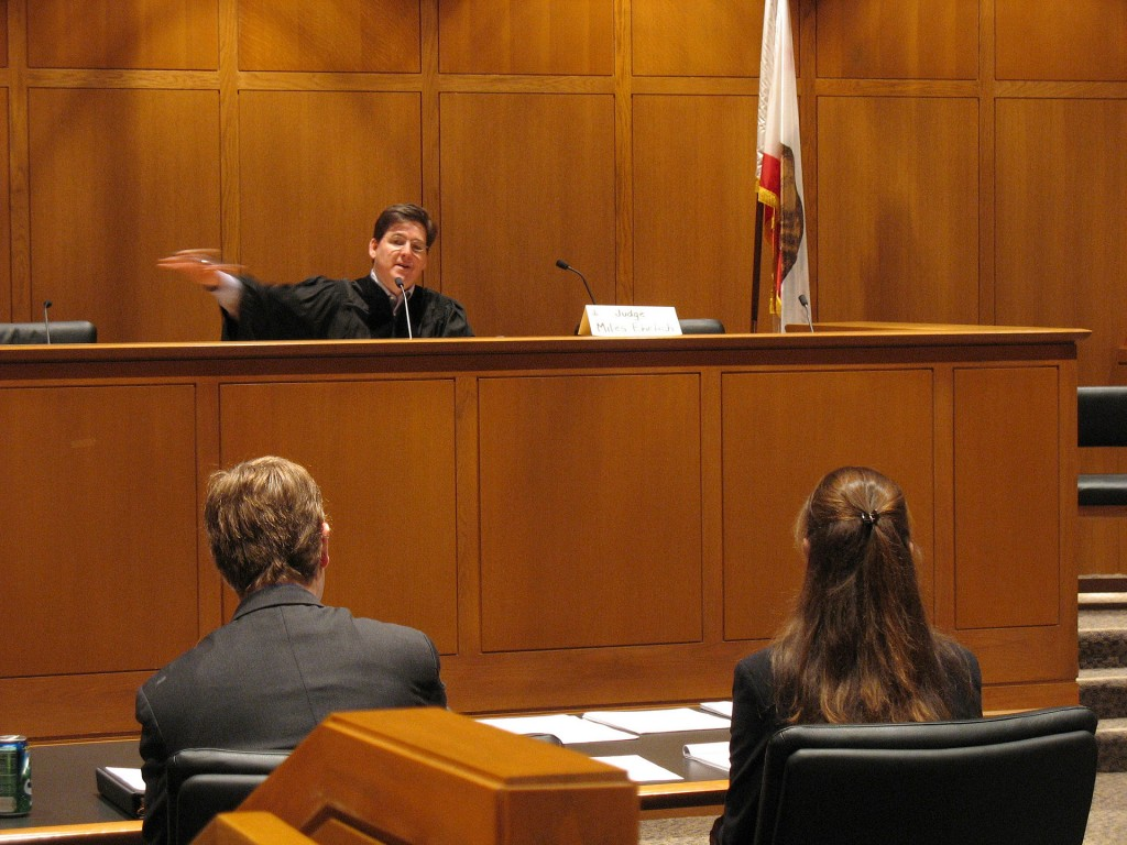 A judge residing over a court