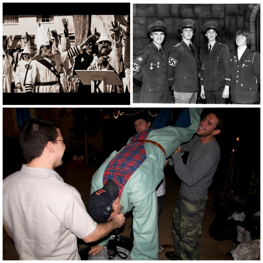 Collage: A Klu Klux Klan propaganda meeting, a group of four Nazis smiling, and three college friends helping another do a keg stand
