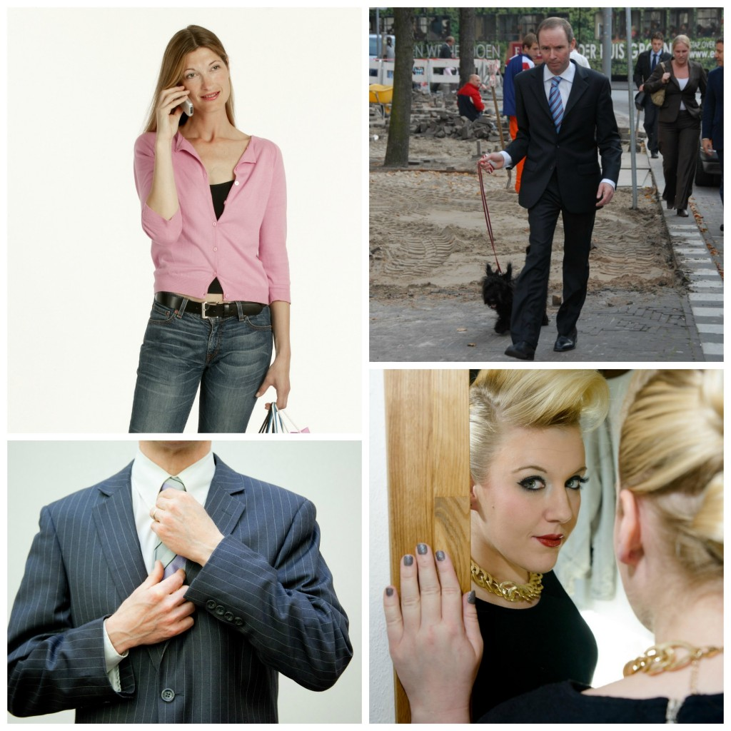Collage: A woman talking on a phone, a man walking his dog, a man tightning his tie, a woman looking at the camera through a mirror