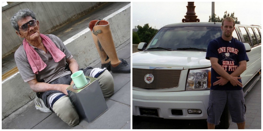 Collage: A legless beggar on the street, and a man standing next to a limo