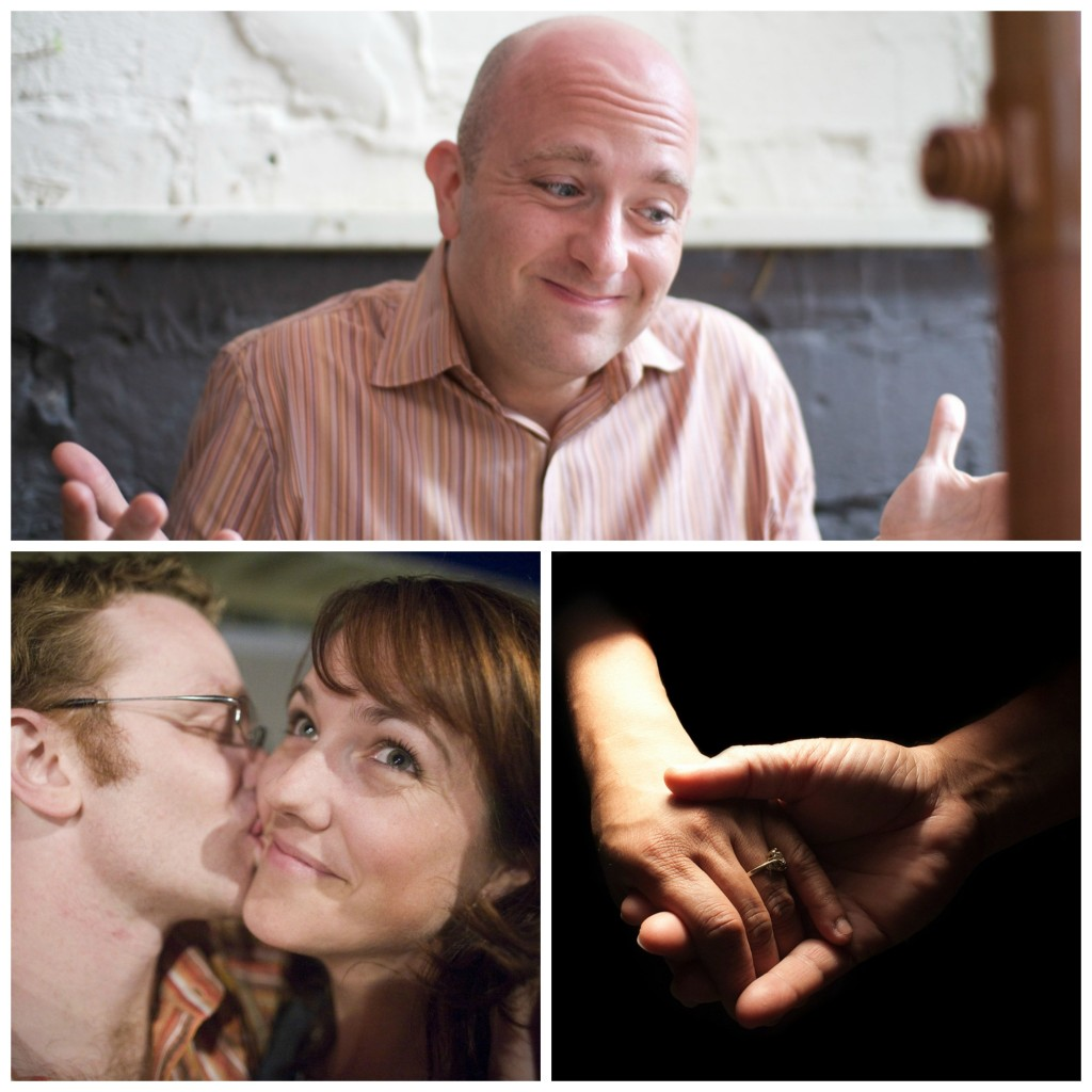 Collage: a man shrugging, a man kissing a woman on the cheek as she smiles, and an engaged or married couple holding hands