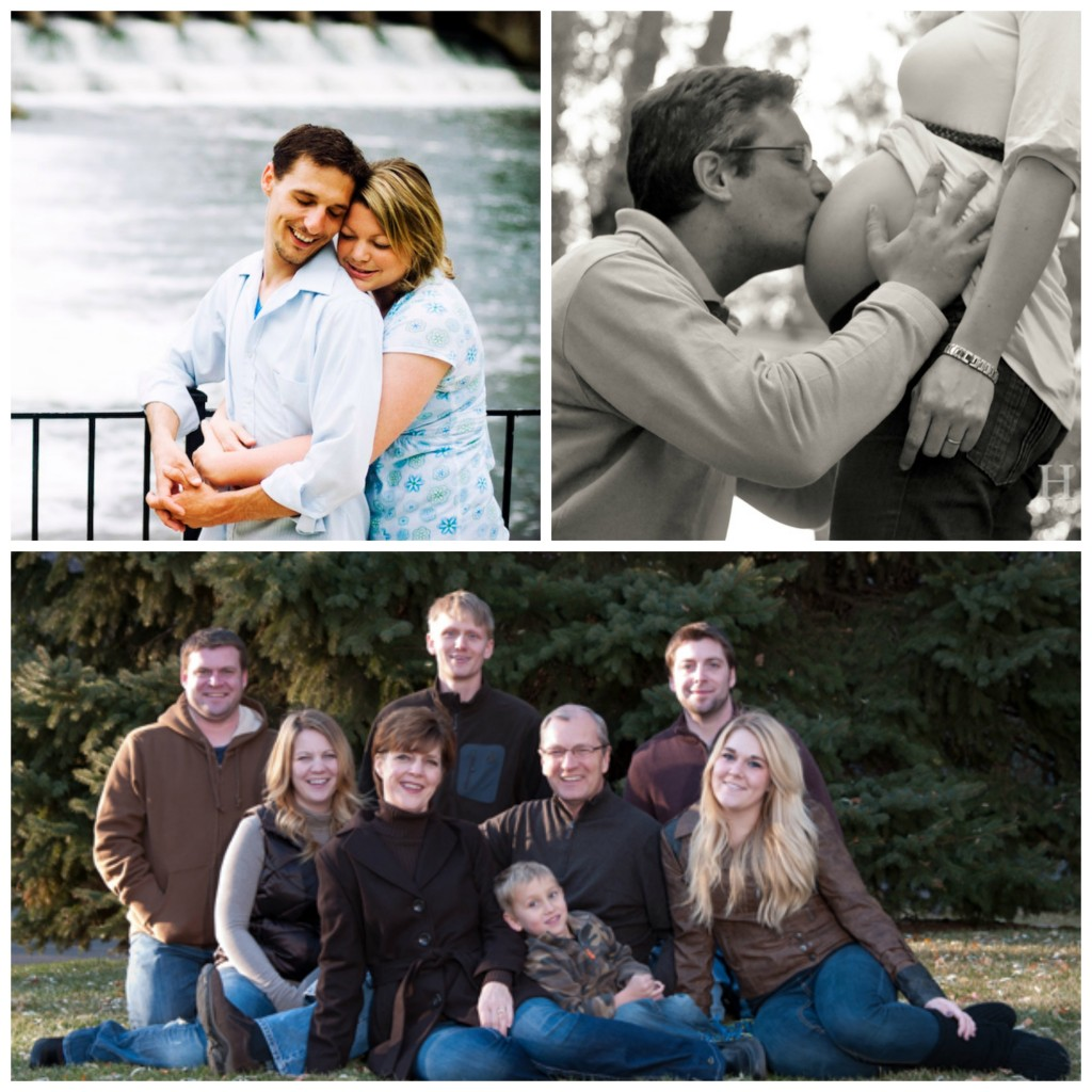 Collage: A couple hugging by a dam, a man kissing his wife's pregnant stomach, a family picture with multiple generations