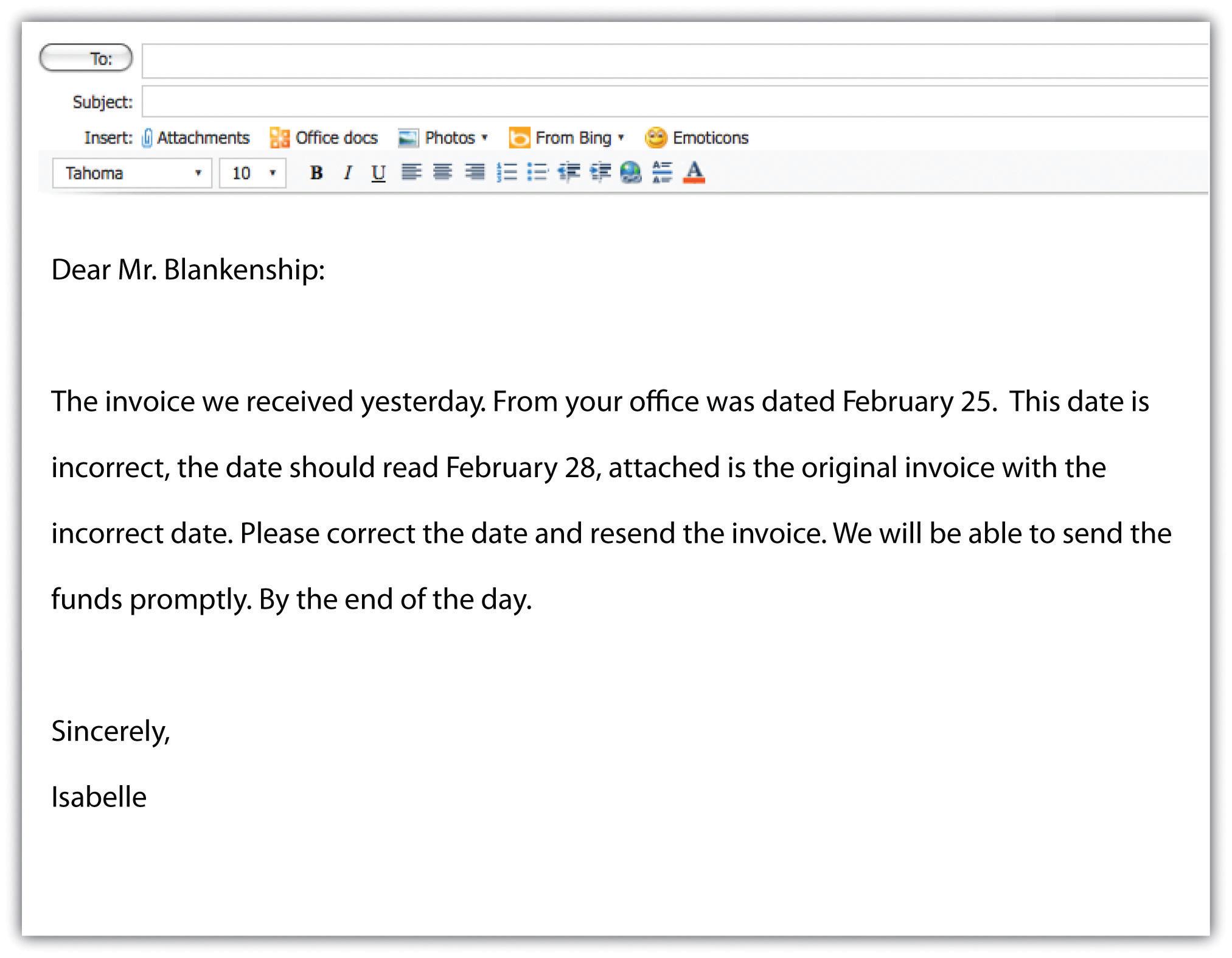 A sample e-mail: