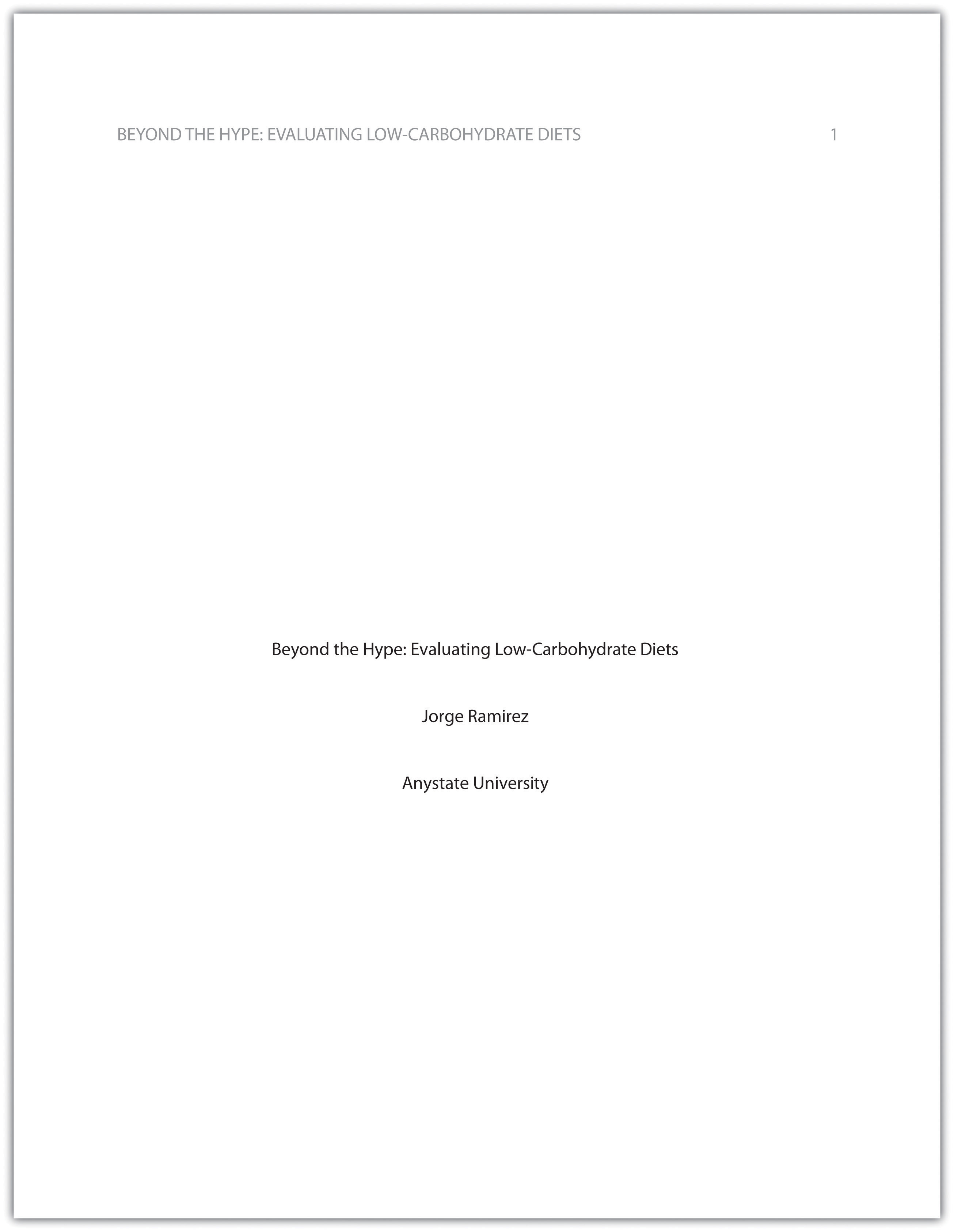Cover Page For Term Paper Template