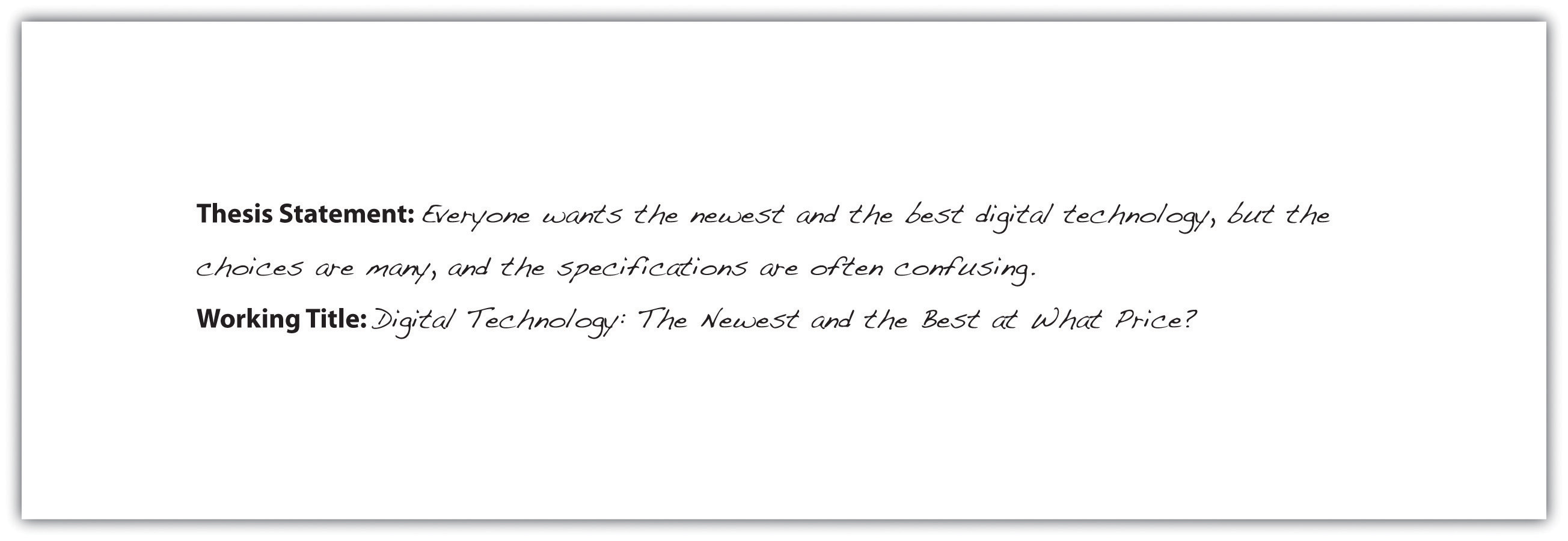 Thesis Statement: Everyone wants the newest and the best digital technology, but the choices are many, and the specifications are often confusing. Working Title: Digital Technology: The Newest and the Best at What Price?