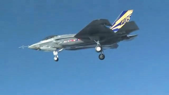 A F-35C fighter jet in the sky