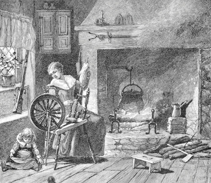 A woman, in colonial America, using an old fashioned sewing wheel as she watches her child