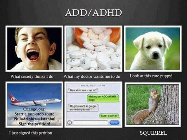 A collage of the expectations of ADD/ADHD.