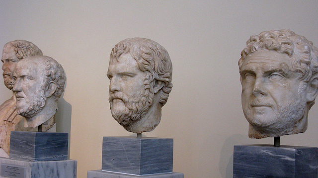 Marble busts of the heads of famous Greek philosophers at The National Archaeological Museum in Athens, Greece