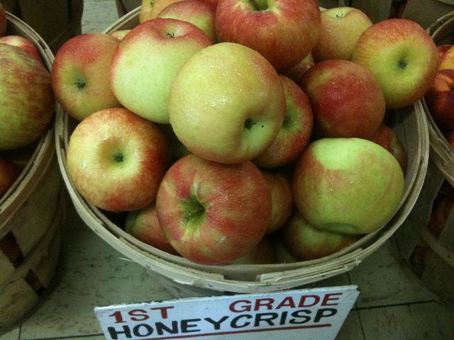 A basket of 1st grade honeycrisp apples