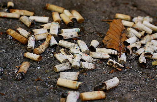 Cigarettes lying in some dirt