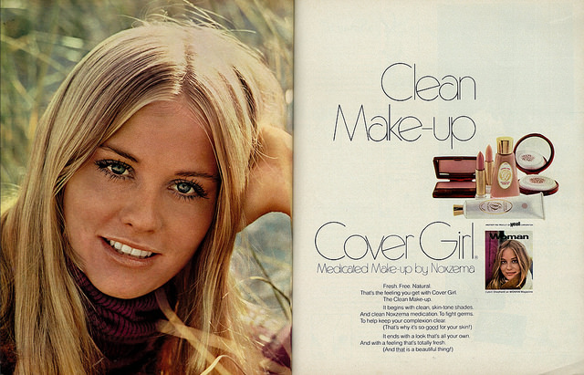 1970 Beauty Ad, Cover Girl Makeup, with Ingenue Actress