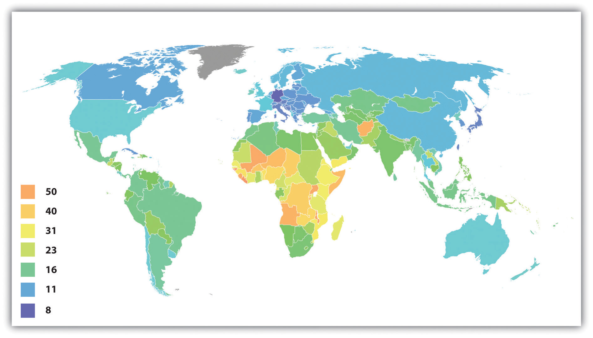 Crude Birth Rates Around the World, 2008 (Number of Births per 1,000 Population)