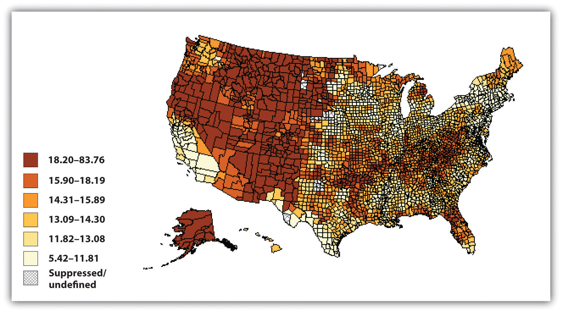 US Suicide Rates, 2000-2006. The highest rates of suicide are in Alaska and the western half of the US, besides much of California