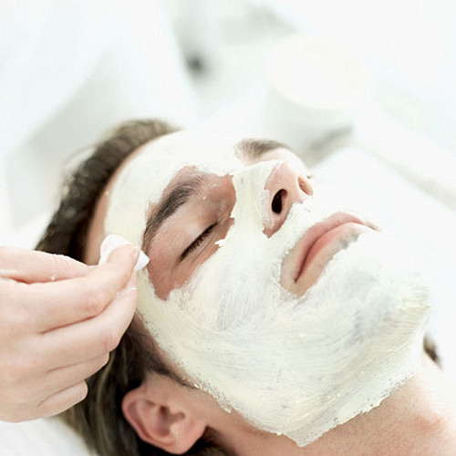 close-up of a man getting a facial