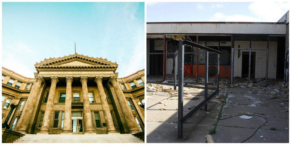 A rich high school (El Paso High School), and a poor, run down school (Detroit School)