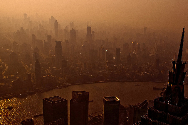 The skyline of Shanghai, covered in smog