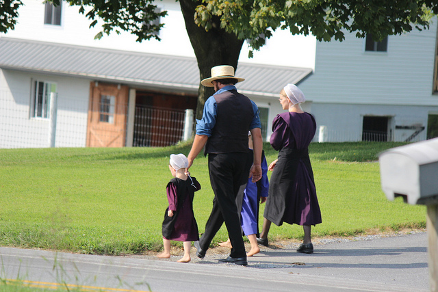 An Amish family on a walk