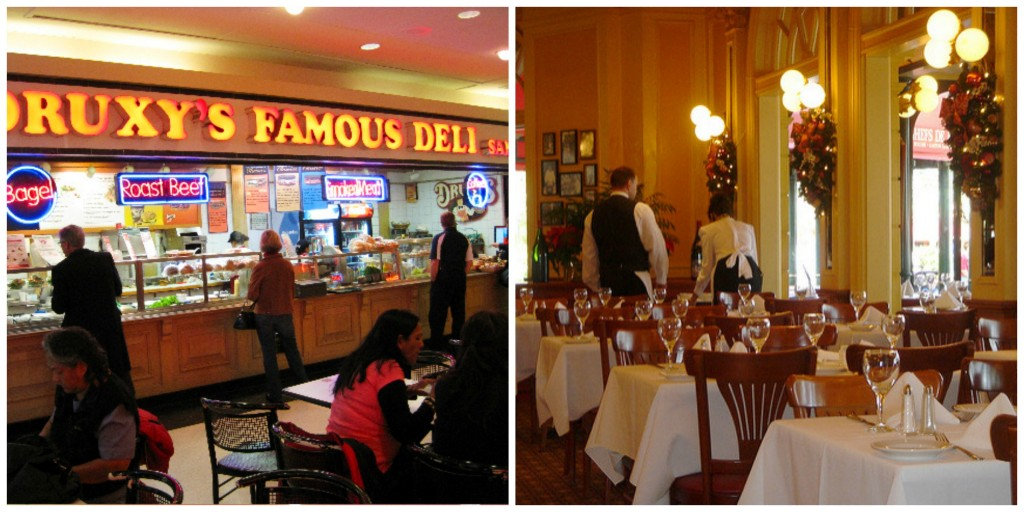 Eaton Centre Food Hall's Famous Deli, and a fancy restaurant pictured side by side