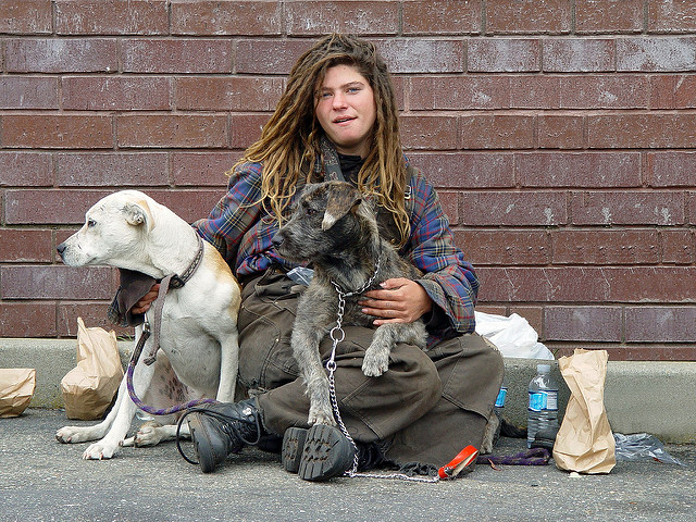 A homeless woman with dogs