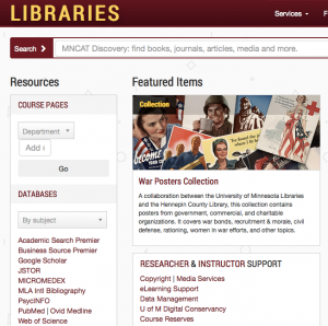 University of Minnesota Libraries homepage screenshot