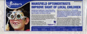 Advertising features, a Pinder's Optometrists Ad