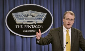 Pentagon Press Secretary George E. Little briefing the media in the Pentagon Press Briefing Room