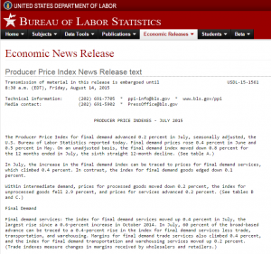 Bureau of Labor Statistics website