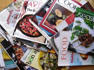 A pile of food magazines