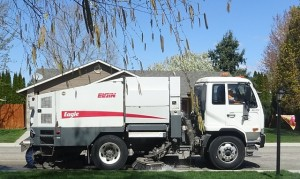 A street sweeper sweeping away