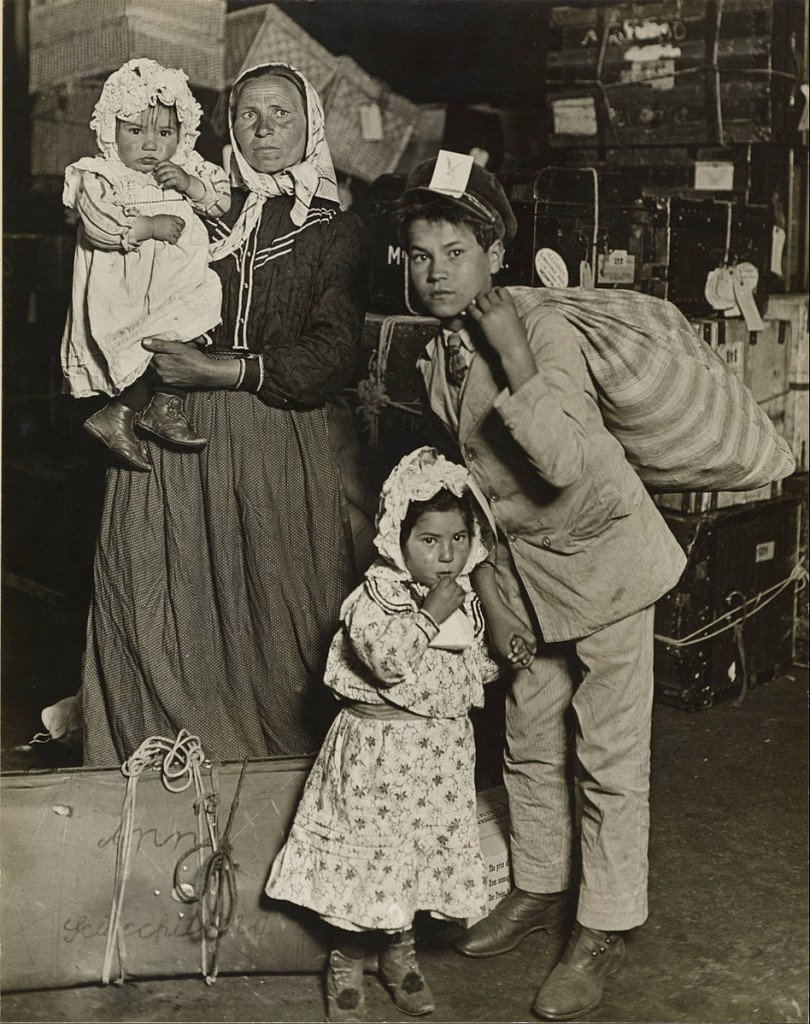 Immigrant Family in the Baggage Room of Ellis Island