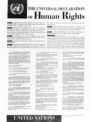 Poster depicting the Universal Declaration of Human Rights, English Version
