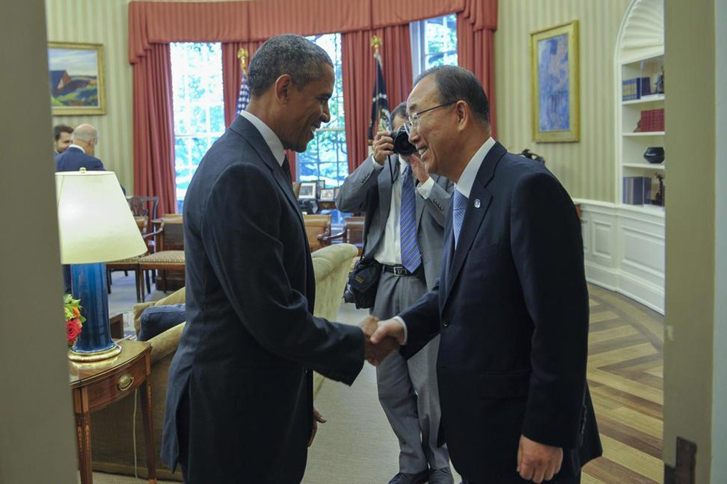 Secretary-General of the United Nations, Ban Ki-moon, meets President of the United States, Barack Obama
