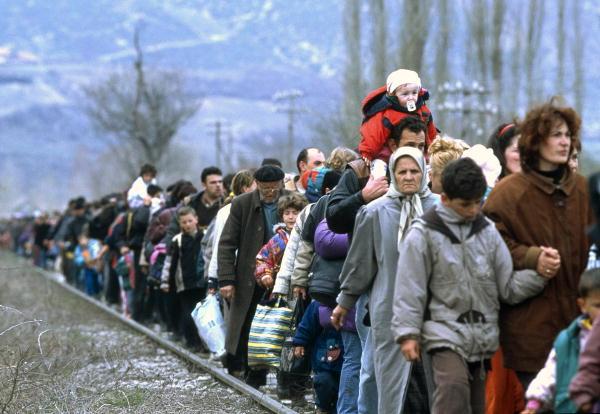 Kosovar refugees fleeing their homeland.