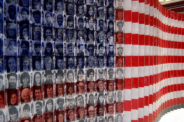 An American flag made from pictures of immigrants