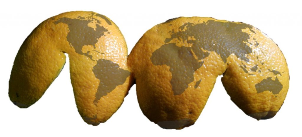 Flattened orange peel