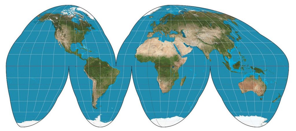 Goode homolosine projection of the world