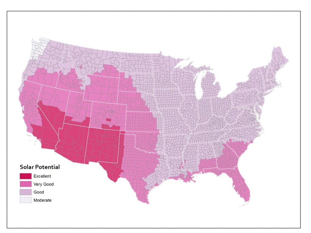 Solar potential by county