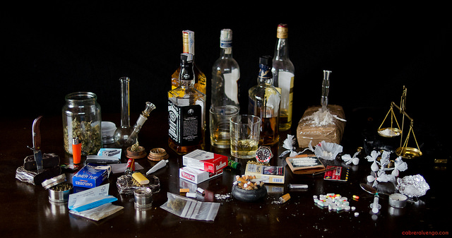 An array of alcohol and drugs