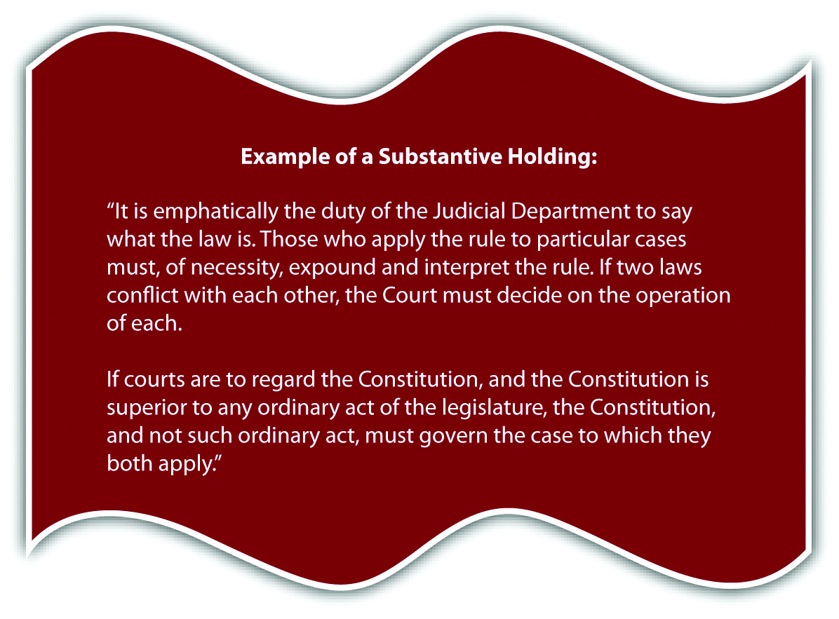 Example of a Substantive Holding:
