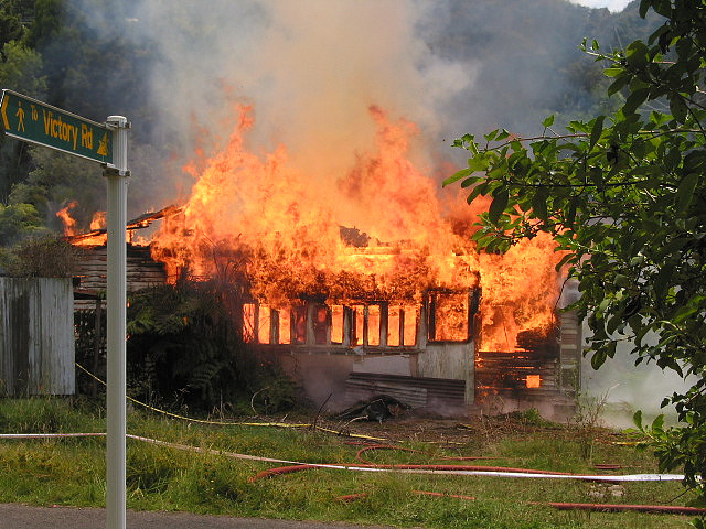 A house in flames