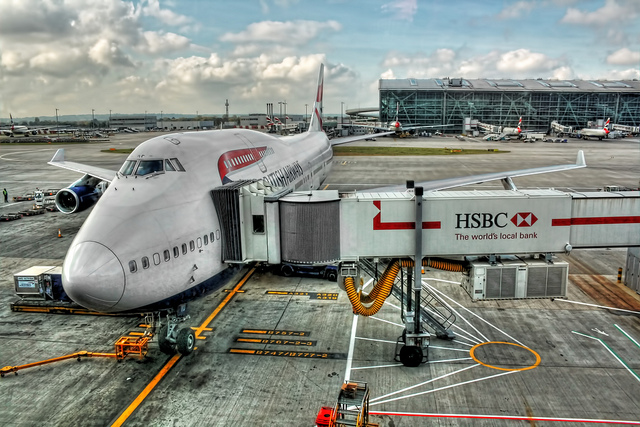 A docked Airplane at the London Heathrow UK airport