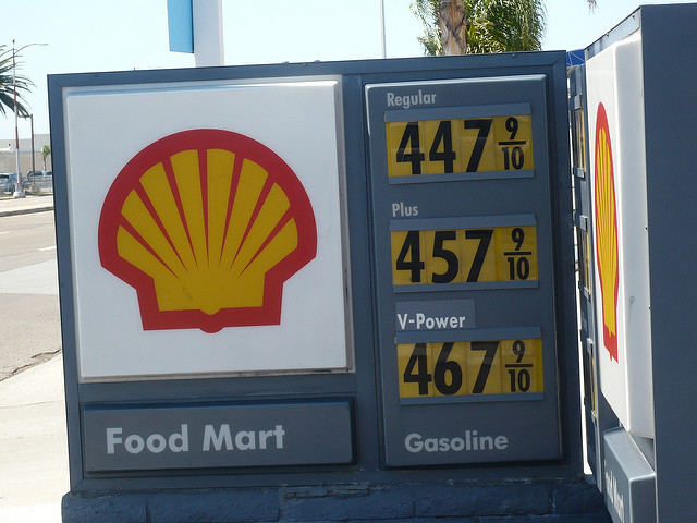 Gas prices in San Diego. Regular is as high as 4.47 per gallon